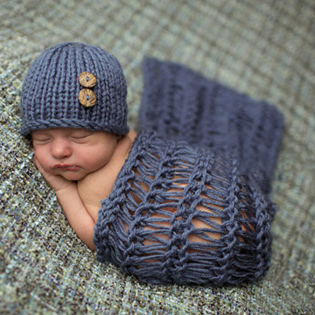 Baby Photo Props Newborn Baby Girls Boys Cotton Crochet Knit Costume Baby Hat Blanket Photo Photography