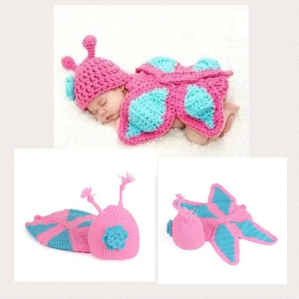 Newborn Photography Prop - Baby blue and pink crochet costume