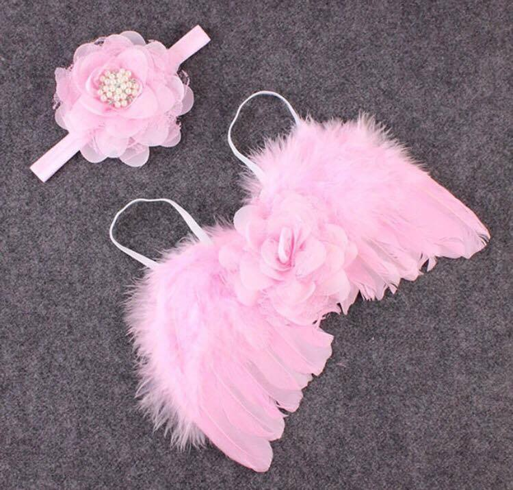 Newborn Baby Feather Angel Wings /& Headband With Rhinestone Flowers Photo Prop