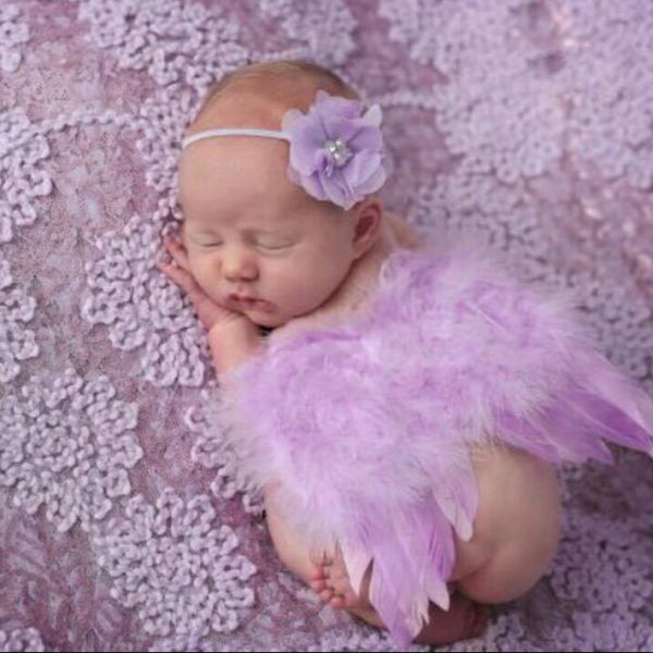 Newborn Photography Prop - Baby girl wearing angel wings