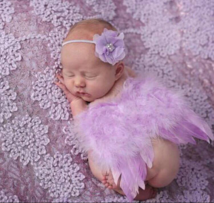 Light Lavender Feather Wings With Matching Lavender Flower