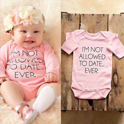 Newborn Photography Prop - Baby girl pink jumper - I'm not allowed to date ever