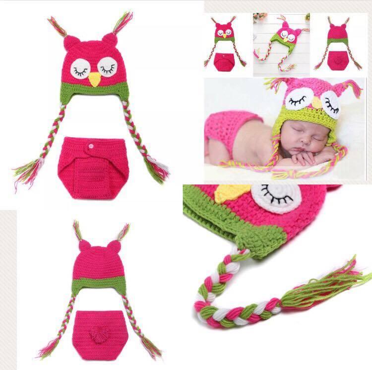 Newborn Photography Prop - Baby owl hats and underwear