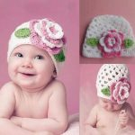 newborn-photography-prop-baby-pink-flower-white-hat