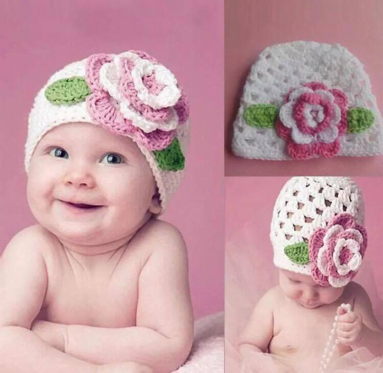 Newborn Photography Prop - Baby wearing white hat with pink flower