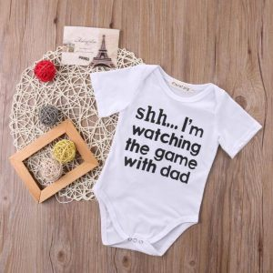 Newborn Photography Prop - Baby white jumper - Shh.. I'm watching the game with dad