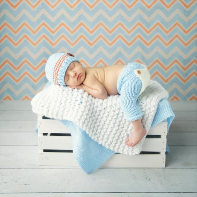 Newborn Baby Photography Props Costume - Baby sleeping on laundry basket