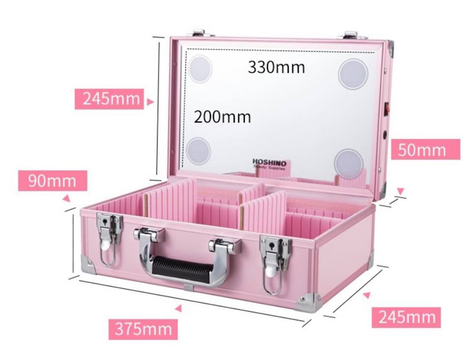 Makeup case dimensions pink